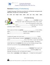 Reading: A Terrible Morning Worksheet
