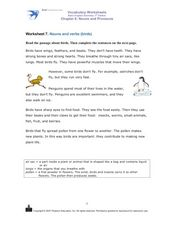 Worksheet 7. Nouns and Verbs (Birds) Worksheet