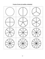 Fraction Circles (To Twelfths Unlabeled) Worksheet