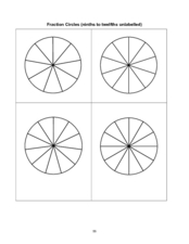 Fraction Circles (Ninths to Twelfths Unlabelled) Worksheet