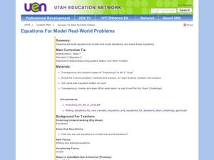 Equations for Model Real-World Problems Lesson Plan