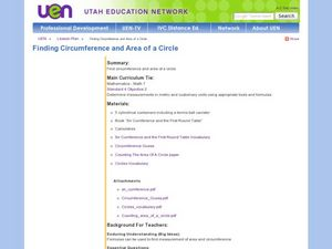 Finding Circumference and Area of a Circle Lesson Plan