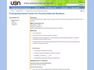 Finding Equivalent Forms For Positive Rational Numbers Lesson Plan
