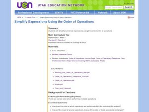 Simplify Expression Using the Order of Operations Lesson Plan
