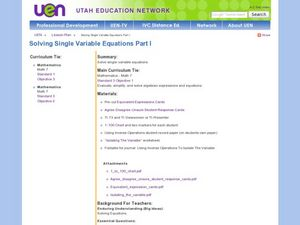 Solve Single-Variable Equations Part I Lesson Plan