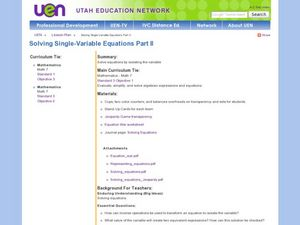 Solving Single-Variable Equations Part II Lesson Plan
