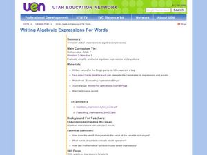 Writing Algebraic Expressions for Words Lesson Plan