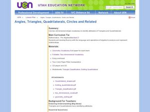 Angles, Triangles, Quadrilaterals, Circles and Related Lesson Plan