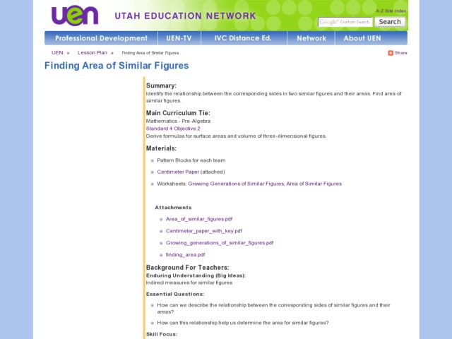 Finding Area of Similar Figures Lesson Plan