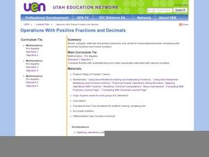 Operations with Positive Fractions and Decimals Lesson Plan
