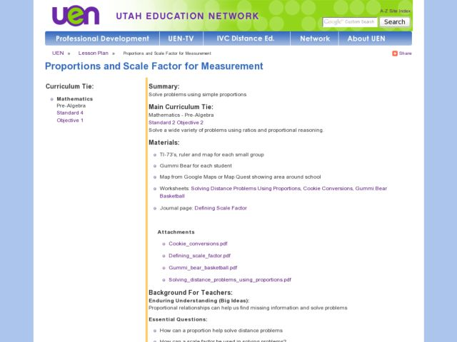 Proportions and Scale Factor for Measurement Lesson Plan