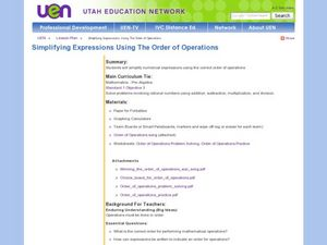 Simplifying Expressions Using the Order of Operations Lesson Plan