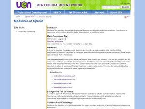 Measures of Spread Lesson Plan