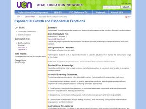 Exponential Growth and Exponential Functions Lesson Plan
