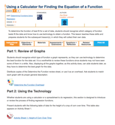 Using a Calculator to Find the Equation of a Function Lesson Plan
