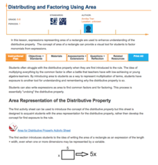 Distributing and Factoring Using Area Lesson Plan