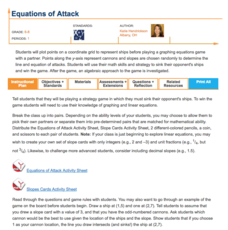 Equations of Attack Lesson Plan
