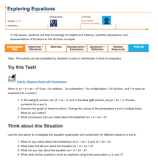 Exploring Equations Lesson Plan