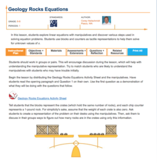 Geology Rocks Equations Lesson Plan