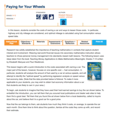 Paying for Your Wheels Lesson Plan