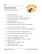 Summer Challenge Worksheet