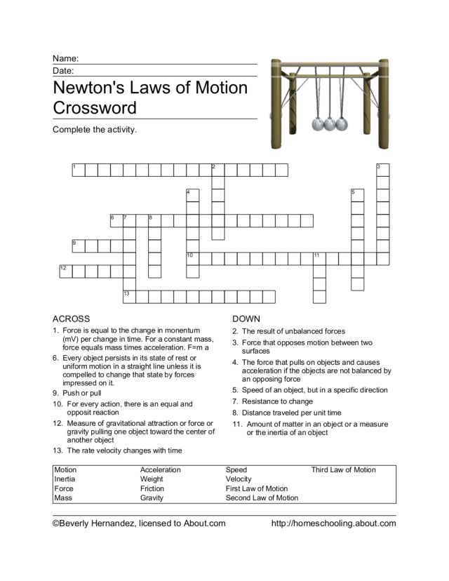 Newtons Laws of Motion Crossword 4th 6th Grade Worksheet – Laws of Motion Worksheet