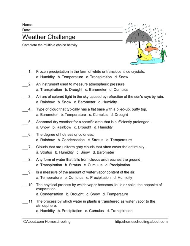weather challenge worksheet for 3rd 4th grade lesson. Black Bedroom Furniture Sets. Home Design Ideas