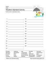 Weather Alphabet Activity Worksheet