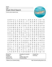 Shark Word Search Worksheet