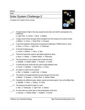 Solar System Multiple Choice Activity Worksheet
