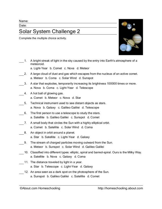 solar system multiple choice activity worksheet for 3rd 4th grade lesson planet. Black Bedroom Furniture Sets. Home Design Ideas