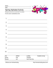 Spring Alphabetizing Worksheet Worksheet