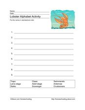 Lobster Alphabet Activity Worksheet