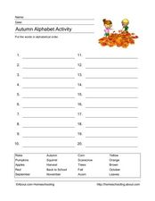 Autumn Alphabet Activity Worksheet