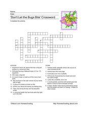 Insects Crossword Worksheet