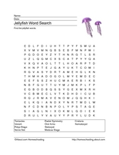 Jellyfish Word Search Worksheet