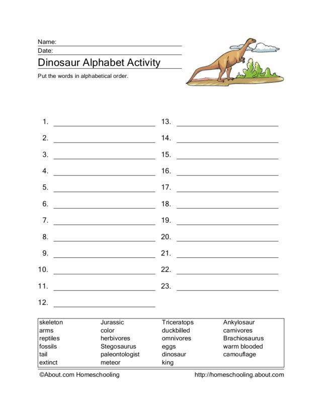 dinosaur alphabetizing worksheet worksheet for 3rd 4th grade lesson planet. Black Bedroom Furniture Sets. Home Design Ideas