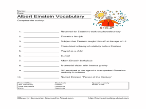 Albert Einstein Vocabulary Worksheet