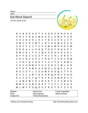 Eel Word Search Worksheet