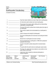 Earthquake Vocabulary Worksheet