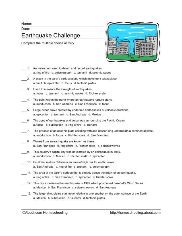 Earthquake Challenge 4th 6th Grade Worksheet – Earthquake Worksheet
