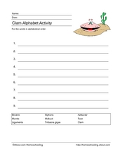 Clam Alphabet Activity Worksheet
