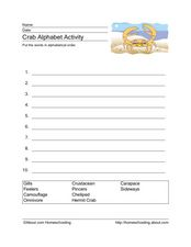 Crab Alphabet Activity Worksheet