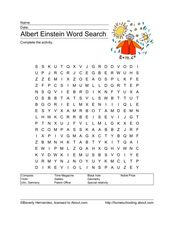 Albert Einstein Word Search Worksheet
