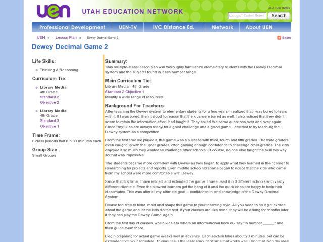 Dewey Decimal System 2nd - 5th Grade Lesson Plan | Lesson Planet