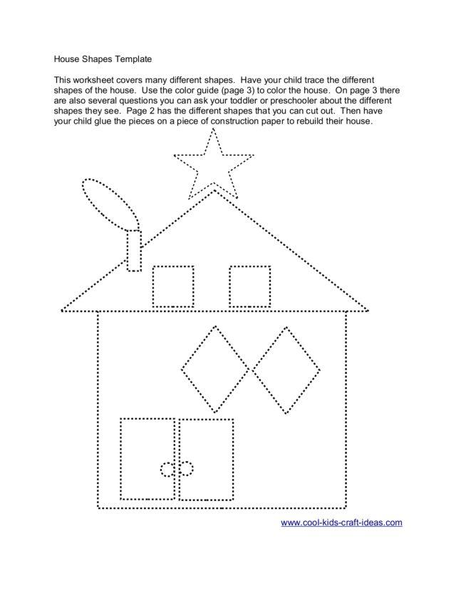 house shape template worksheet for pre k kindergarten lesson planet. Black Bedroom Furniture Sets. Home Design Ideas