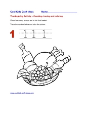 Thanksgiving Activity: Counting, Tracing and Coloring- The Number 1 Worksheet