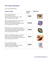 The 5 Senses Worksheets Worksheet