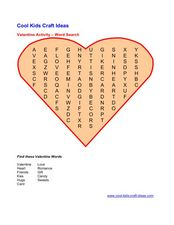 Valentine Activity Word Search Worksheet
