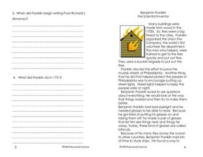Benjamin Franklin: the Scientist / Inventor Worksheet